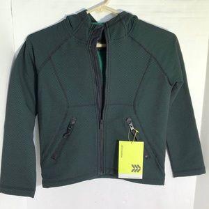 Boy's Green Woven Fleece Jacket w/ Hood